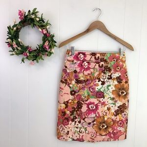 J. Crew Pastiche Pink Blossoms Floral Skirt